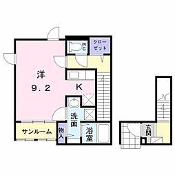 小田急小田原線 柿生駅 徒歩5分の賃貸アパート 2階1Kの間取り