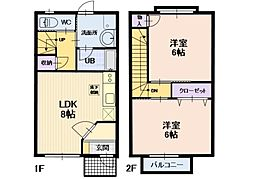 長野県上田市長瀬の賃貸アパートの間取り