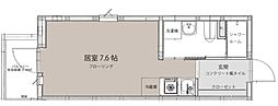 京成本線 海神駅 徒歩8分の賃貸アパート 2階ワンルームの間取り