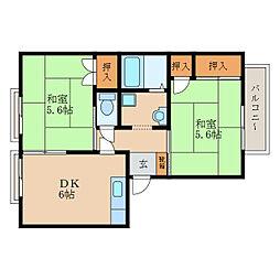 滋賀県栗東市綣3丁目の賃貸アパートの間取り