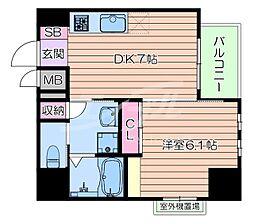 おおさか東線 南吹田駅 徒歩10分の賃貸マンション 7階1DKの間取り