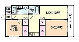 大橋マンション5番館[5階]の間取り