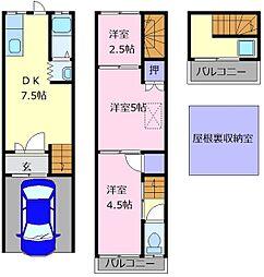 [テラスハウス] 大阪府松原市天美南2丁目 の賃貸【/】の間取り