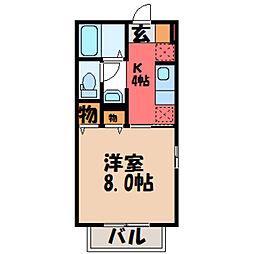 栃木県小山市城東2丁目の賃貸アパートの間取り