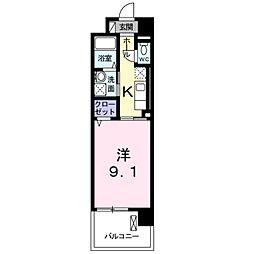 京王線 聖蹟桜ヶ丘駅 徒歩18分の賃貸マンション 2階1Kの間取り