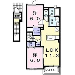 東武野田線 六実駅 徒歩7分の賃貸アパート 2階2LDKの間取り