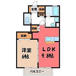 栃木県真岡市熊倉1丁目の賃貸アパートの間取り