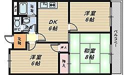 大阪府和泉市箕形町3丁目の賃貸マンションの間取り