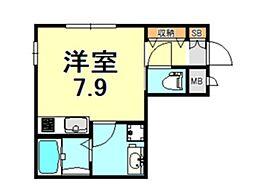本山中町カチフラット2 1階ワンルームの間取り