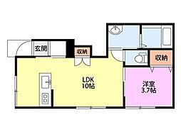 新潟県新発田市住吉町4丁目の賃貸アパートの間取り