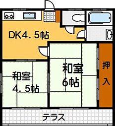 ドリームハイツ西片江[102号室]の間取り