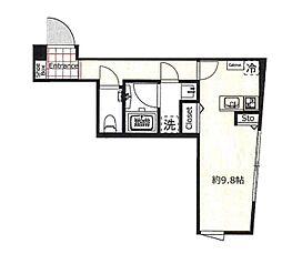 ヴェール白金台 3階ワンルームの間取り