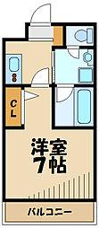 東急田園都市線 市が尾駅 徒歩8分の賃貸マンション 2階1Kの間取り