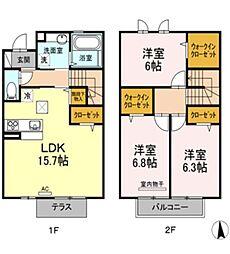 [タウンハウス] 岡山県倉敷市西中新田 の賃貸【/】の間取り