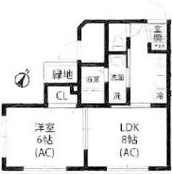 JR横浜線 町田駅 徒歩14分の賃貸アパート 2階1LDKの間取り