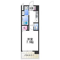 南海汐見橋線 芦原町駅 徒歩5分の賃貸マンション 7階1Kの間取り