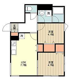 西武新宿線 田無駅 徒歩9分の賃貸マンション 4階2LDKの間取り