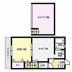 福岡県福岡市早良区田隈1の賃貸アパートの間取り