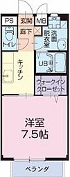 愛知県小牧市大字三ツ渕の賃貸アパートの間取り