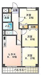 愛知県みよし市東山台の賃貸マンションの間取り
