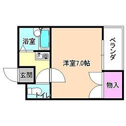 大阪府枚方市牧野本町2丁目の賃貸アパートの間取り