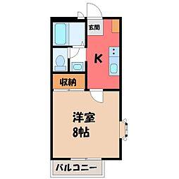 栃木県小山市駅南町3丁目の賃貸アパートの間取り