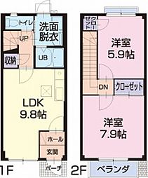 滋賀県栗東市小平井1丁目の賃貸アパートの間取り
