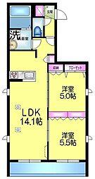 (仮称)浅草3丁目メゾン 3階2LDKの間取り