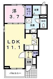 マグノリア 1階1LDKの間取り