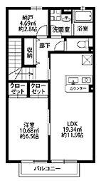 千葉県習志野市谷津6丁目の賃貸アパートの間取り