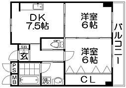清水谷コーポ[2階]の間取り