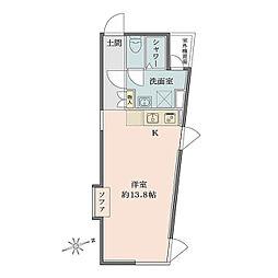 Solana Takanawadai 地下3階ワンルームの間取り