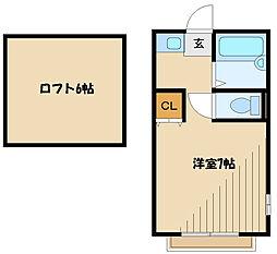 JR横浜線 淵野辺駅 徒歩15分の賃貸アパート 2階ワンルームの間取り