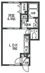 西武多摩川線 是政駅 徒歩12分の賃貸アパート 1階1LDKの間取り