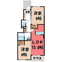 栃木県真岡市東光寺1丁目の賃貸アパートの間取り