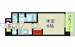 レジュールアッシュ都島ブリーゼ 4階1Kの間取り