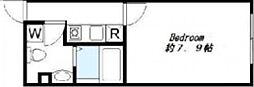 WJ Haus 2階1Kの間取り
