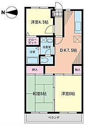 神奈川県川崎市高津区新作6丁目の賃貸マンションの間取り