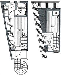 東急池上線 石川台駅 徒歩4分の賃貸アパート 2階1LDKの間取り