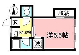 桝谷荘[202号室]の間取り