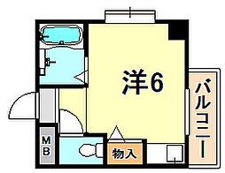 JR東海道・山陽本線 垂水駅 徒歩20分の賃貸マンション 2階ワンルームの間取り
