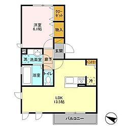 茨城県つくば市東2丁目の賃貸アパートの間取り