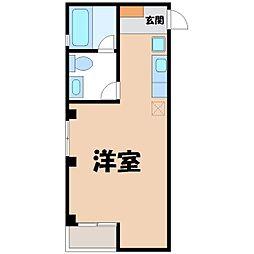 JR東北本線 宇都宮駅 徒歩7分の賃貸マンション 2階ワンルームの間取り