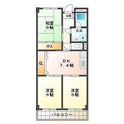 愛知県岡崎市北野町字西野山の賃貸アパートの間取り