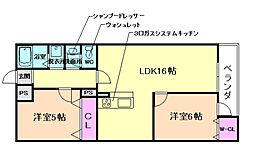 大阪府豊中市庄内宝町2丁目の賃貸マンションの間取り