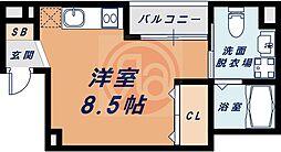 南海線 粉浜駅 徒歩4分の賃貸マンション 4階ワンルームの間取り