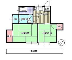 美鈴荘[201号室]の間取り