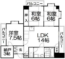 川島第20ビル枚方公園[10階]の間取り