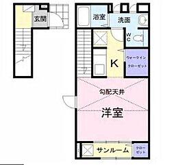 東急田園都市線 高津駅 徒歩16分の賃貸アパート 2階1Kの間取り