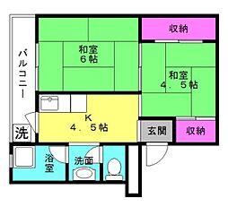 ビレッジハウス十王堂[2-306号室]の間取り